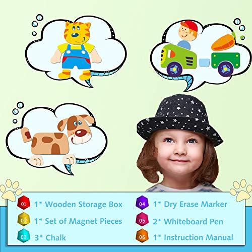 Cooljoy Puzzle Magnetico Legno Giocattolo Di Legno Con Lavagna Double Face Apprendimento Educativo Puzzle Bambini 3 Anni 4 Anni 5 Anni Quasi 100 Pezzi Puo Attaccare Sul Frigorifero Fattoria 0 4