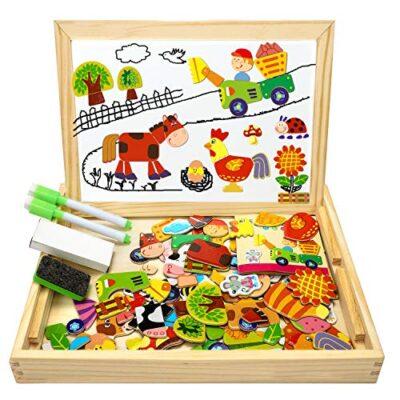Cooljoy Puzzle Magnetico Legno Giocattolo Di Legno Con Lavagna Double Face Apprendimento Educativo Puzzle Bambini 3 Anni 4 Anni 5 Anni Quasi 100 Pezzi Puo Attaccare Sul Frigorifero Fattoria 0
