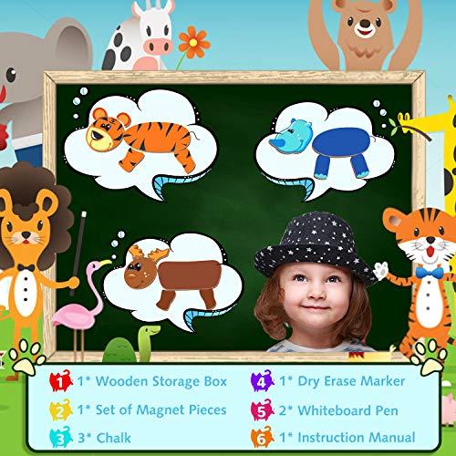 Cooljoy Puzzle Magnetico Legno Giocattolo Di Legno Con Lavagna Double Face Graffiti Educativo Regalo Per Bambini 3 Anni Su Quasi 100 Parti Colorate Animale 0 4