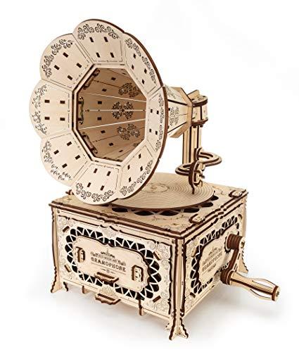 Ewa Eco Wood Art Gramophone Grammofono Meccanico Tridimensionale Puzzle Per Adulti E Adolescenti Collezione Senza Colla 321 Dettagli Colore Natura 0 0