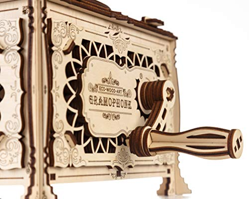Ewa Eco Wood Art Gramophone Grammofono Meccanico Tridimensionale Puzzle Per Adulti E Adolescenti Collezione Senza Colla 321 Dettagli Colore Natura 0 3