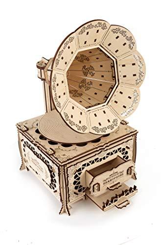 Ewa Eco Wood Art Gramophone Grammofono Meccanico Tridimensionale Puzzle Per Adulti E Adolescenti Collezione Senza Colla 321 Dettagli Colore Natura 0 4