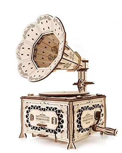 Ewa Eco Wood Art Gramophone Grammofono Meccanico Tridimensionale Puzzle Per Adulti E Adolescenti Collezione Senza Colla 321 Dettagli Colore Natura 0