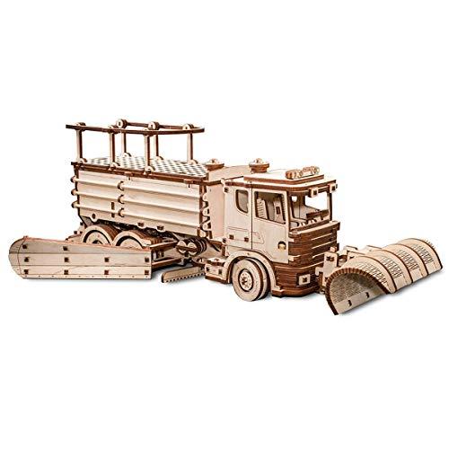 Ewa Eco Wood Art Snowtruck Spazzaneve Meccanico Tridimensionale Puzzle Per Adulti E Adolescenti Collezione Senza Colla 417 Dettagli Colore Natura 0