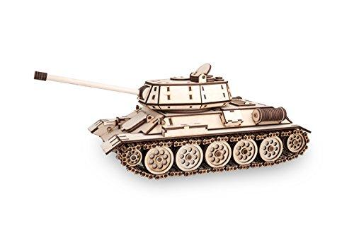 Ewa Eco Wood Art Tank T 34 Serbatoio T 34 Puzzle Meccanico Tridimensionale In Legno Puzzle Per Adulti E Ragazzi Assemblaggio Con Colla 600 Dettagli Colore Natura 0 3
