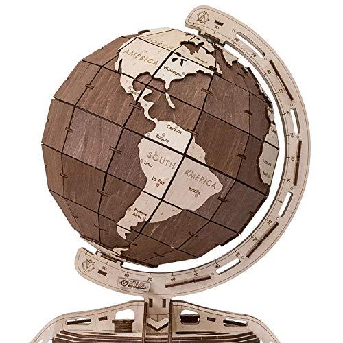 Ewa Eco Wood Art The Globe Brown Globo Meccanico Tridimensionale Puzzle Per Adulti E Adolescenti Collezione Senza Colla 393 Dettagli Colore Marrone 393 0 0