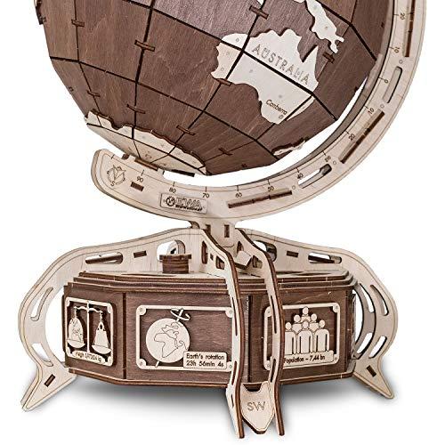Ewa Eco Wood Art The Globe Brown Globo Meccanico Tridimensionale Puzzle Per Adulti E Adolescenti Collezione Senza Colla 393 Dettagli Colore Marrone 393 0 1