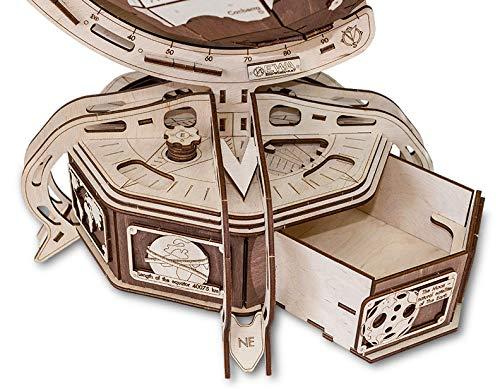 Ewa Eco Wood Art The Globe Brown Globo Meccanico Tridimensionale Puzzle Per Adulti E Adolescenti Collezione Senza Colla 393 Dettagli Colore Marrone 393 0 2