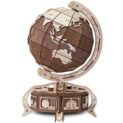 Ewa Eco Wood Art The Globe Brown Globo Meccanico Tridimensionale Puzzle Per Adulti E Adolescenti Collezione Senza Colla 393 Dettagli Colore Marrone 393 0