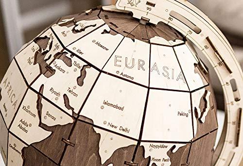 Ewa Eco Wood Art The Globe Brown Globo Meccanico Tridimensionale Puzzle Per Adulti E Adolescenti Collezione Senza Colla 393 Dettagli Colore Marrone 393 0 5