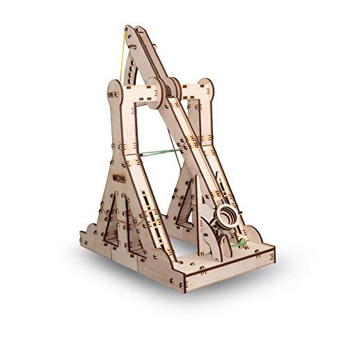 Ewa Eco Wood Art Trebuchet Meccanico Tridimensionale Puzzle Per Adulti E Adolescenti Collezione Senza Colla 94 Dettagli Colore Natura 0 0