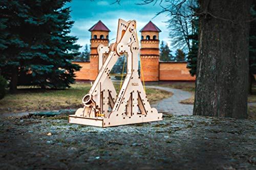 Ewa Eco Wood Art Trebuchet Meccanico Tridimensionale Puzzle Per Adulti E Adolescenti Collezione Senza Colla 94 Dettagli Colore Natura 0 3