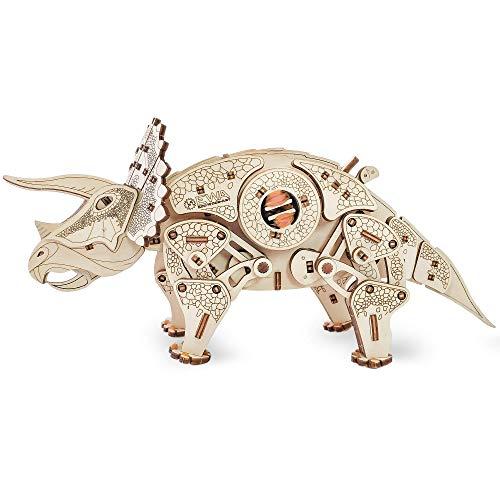 Ewa Eco Wood Art Triceratops Triceratopo Meccanico Tridimensionale Puzzle Per Adulti E Adolescenti Collezione Senza Colla 283 Dettagli Colore Natura 0 0