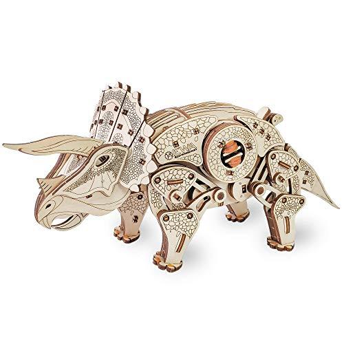 Ewa Eco Wood Art Triceratops Triceratopo Meccanico Tridimensionale Puzzle Per Adulti E Adolescenti Collezione Senza Colla 283 Dettagli Colore Natura 0 1