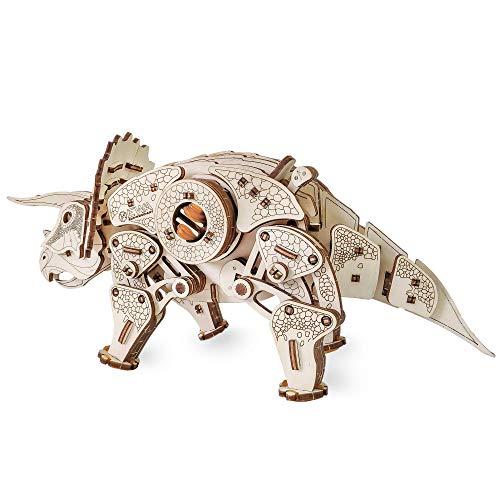Ewa Eco Wood Art Triceratops Triceratopo Meccanico Tridimensionale Puzzle Per Adulti E Adolescenti Collezione Senza Colla 283 Dettagli Colore Natura 0 2