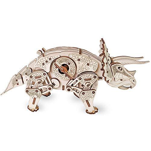 Ewa Eco Wood Art Triceratops Triceratopo Meccanico Tridimensionale Puzzle Per Adulti E Adolescenti Collezione Senza Colla 283 Dettagli Colore Natura 0 3