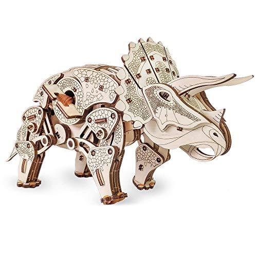 Ewa Eco Wood Art Triceratops Triceratopo Meccanico Tridimensionale Puzzle Per Adulti E Adolescenti Collezione Senza Colla 283 Dettagli Colore Natura 0