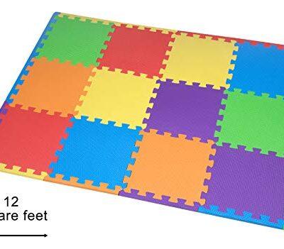 Edukit Tappeto A Puzzle In Schiuma Per Il Gioco Dei Bambini 12 Pezzi In Eva Piastrelle In Schiuma Multicolore 0
