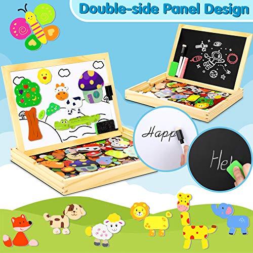 Jojoin Puzzle Magnetico Legno Double Face Pittura Tema Animali E Foreste Puzzle Con Lavagna Per Bambini 3 4 5 Anni Presente Immaginazione 0 0