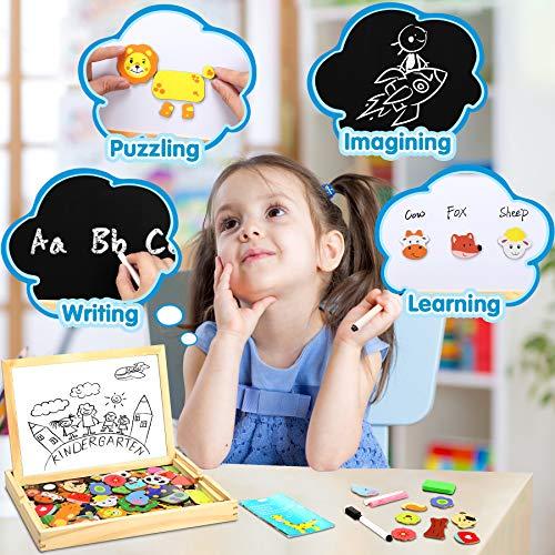 Jojoin Puzzle Magnetico Legno Double Face Pittura Tema Animali E Foreste Puzzle Con Lavagna Per Bambini 3 4 5 Anni Presente Immaginazione 0 1