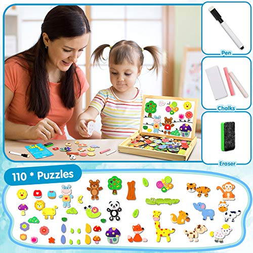 Jojoin Puzzle Magnetico Legno Double Face Pittura Tema Animali E Foreste Puzzle Con Lavagna Per Bambini 3 4 5 Anni Presente Immaginazione 0 2