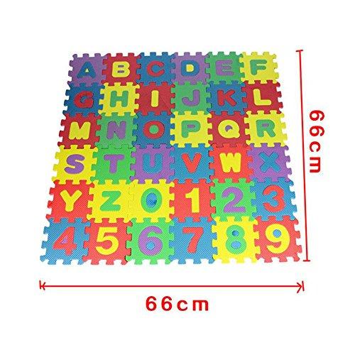 Kiccoly Tappeto Puzzle Per Bambini In Soffice Schiuma Eva Tappetino Gioco Per La Cameretta A Quadri Multicolore 36pcs A Z 0 9 0 1