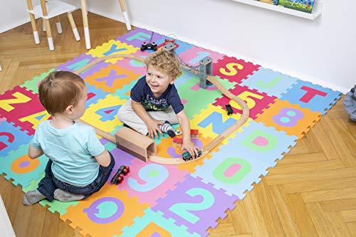 Kiduku Tappeto Puzzle 36 Pezzi Con Numeri E Lettere Colorati In Morbida Gomma Eva Resistente Isolante Lavabile Tappeto Da Gioco Per Bambini 0 0