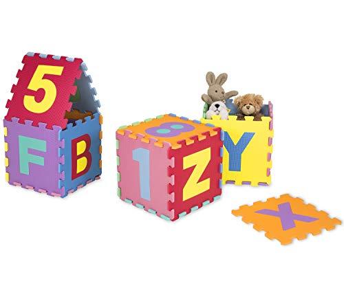 Kiduku Tappeto Puzzle 36 Pezzi Con Numeri E Lettere Colorati In Morbida Gomma Eva Resistente Isolante Lavabile Tappeto Da Gioco Per Bambini 0 3