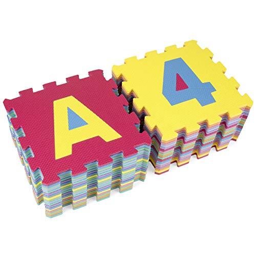 Kiduku Tappeto Puzzle 36 Pezzi Con Numeri E Lettere Colorati In Morbida Gomma Eva Resistente Isolante Lavabile Tappeto Da Gioco Per Bambini 0 4