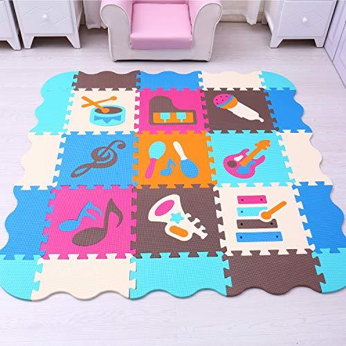Mqiaoham Foam Puzzle Play Mat Con Bordi Kids Multi Color Safe Baby Playground Soft Imbottito Protezione Del Pavimento Di Alta Qualita Eva Foam Interlocking Tiles Non Tossico P009b3010 0 0