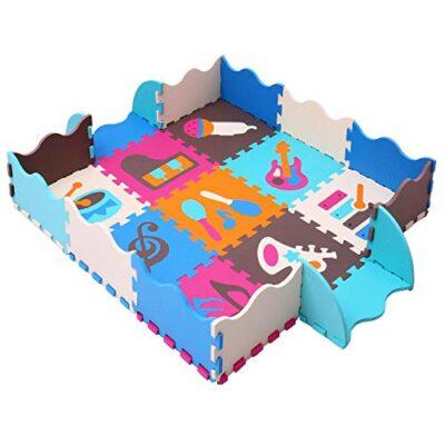 Mqiaoham Foam Puzzle Play Mat Con Bordi Kids Multi Color Safe Baby Playground Soft Imbottito Protezione Del Pavimento Di Alta Qualita Eva Foam Interlocking Tiles Non Tossico P009b3010 0
