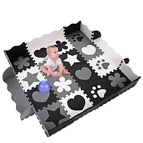 Profun Tappeto Per Bambini Rimovibile In Gomma Eva 40 Pezzi Coperta Puzzle In Schiuma Con Lettere E Numeri A Bolle Giganti Adatto A Neonati E Bambini 0