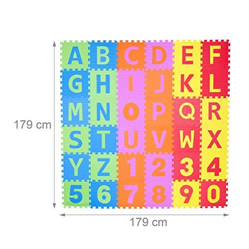 Relaxdays 10021531 Tappeto Puzzle Da Gioco Per Bambini 86 Pz Lettere E Numeri Tappetino In Gommapiuma Eva Lxp 180x 180 Cm Colorato 0 3