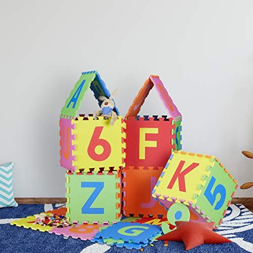 Relaxdays 10021531 Tappeto Puzzle Da Gioco Per Bambini 86 Pz Lettere E Numeri Tappetino In Gommapiuma Eva Lxp 180x 180 Cm Colorato 0 4