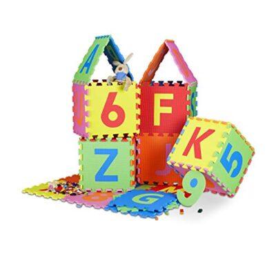 Relaxdays 10021531 Tappeto Puzzle Da Gioco Per Bambini 86 Pz Lettere E Numeri Tappetino In Gommapiuma Eva Lxp 180x 180 Cm Colorato 0
