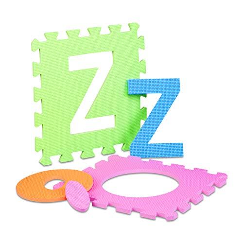 Relaxdays 10021531 Tappeto Puzzle Da Gioco Per Bambini 86 Pz Lettere E Numeri Tappetino In Gommapiuma Eva Lxp 180x 180 Cm Colorato 0 5