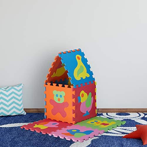 Relaxdays 10023481822 Tappeto Bambini Puzzle Tappetino Gioco Bimbi Gommapiuma Eva Atossico Bpa Free 90x90 Cm Animali Colorato 0 1