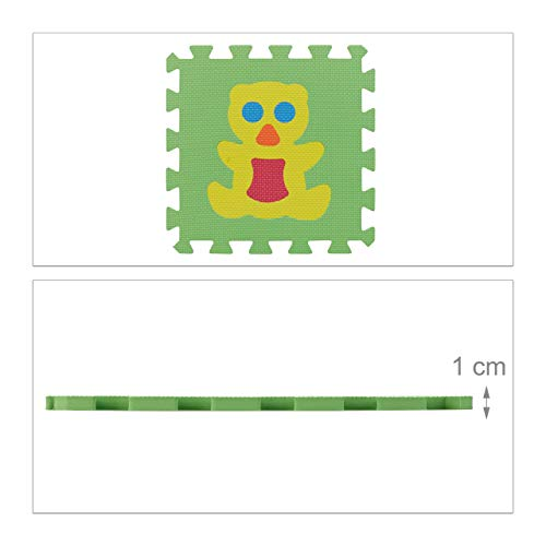 Relaxdays 10023481822 Tappeto Bambini Puzzle Tappetino Gioco Bimbi Gommapiuma Eva Atossico Bpa Free 90x90 Cm Animali Colorato 0 3