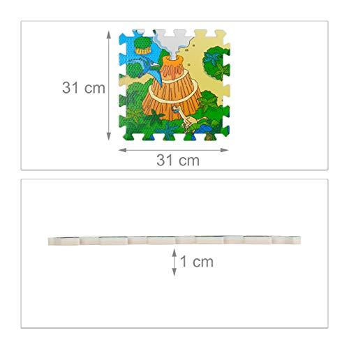 Relaxdays Tappeto Puzzle Con Dinosauri 9 Tasselli Tappetino Per Bambini Atossico Gommapiuma Eva 90 X 90 Cm Colorato Multicolore 9 Pezzi 10031433 0 2