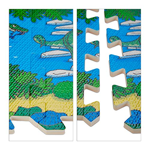 Relaxdays Tappeto Puzzle Con Dinosauri 9 Tasselli Tappetino Per Bambini Atossico Gommapiuma Eva 90 X 90 Cm Colorato Multicolore 9 Pezzi 10031433 0 4