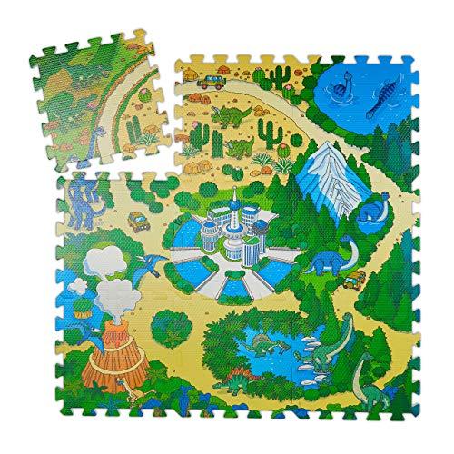 Relaxdays Tappeto Puzzle Con Dinosauri 9 Tasselli Tappetino Per Bambini Atossico Gommapiuma Eva 90 X 90 Cm Colorato Multicolore 9 Pezzi 10031433 0