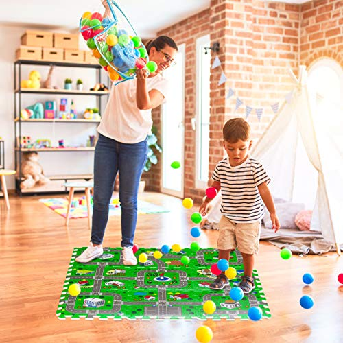 Relaxdays Tappeto Puzzle Con Immagine Di Una Strada 9 Tasselli Atossico In Gomma Piuma Lxp 90x90 Cm Multicolore Eva Set Da 9x 0 0