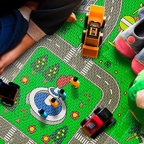 Relaxdays Tappeto Puzzle Con Immagine Di Una Strada 9 Tasselli Atossico In Gomma Piuma Lxp 90x90 Cm Multicolore Eva Set Da 9x 0 1