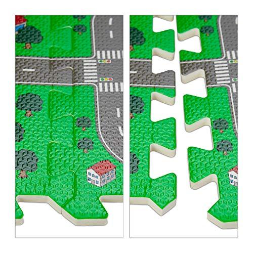 Relaxdays Tappeto Puzzle Con Immagine Di Una Strada 9 Tasselli Atossico In Gomma Piuma Lxp 90x90 Cm Multicolore Eva Set Da 9x 0 4