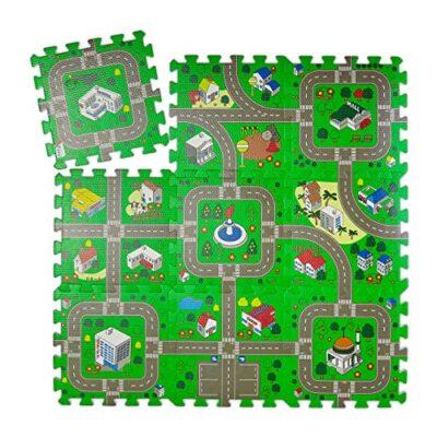 Relaxdays Tappeto Puzzle Con Immagine Di Una Strada 9 Tasselli Atossico In Gomma Piuma Lxp 90x90 Cm Multicolore Eva Set Da 9x 0
