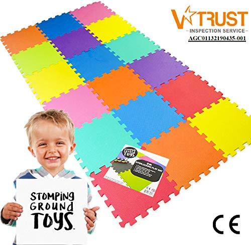 Stomping Ground Toys Tappeto Puzzle Per Bambini In Soffice Schiuma Eva Tappeto Da Gioco Multicolore Tappetino Puzzle Antiscivolo 32 X 32 X 1 Cm 20 Pezzi 0 2