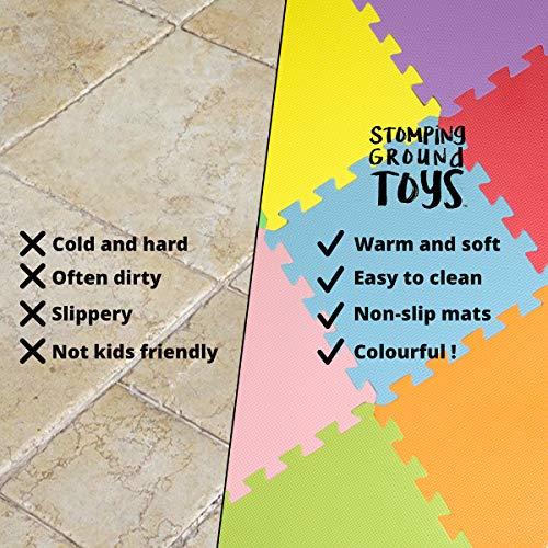 Stomping Ground Toys Tappeto Puzzle Per Bambini In Soffice Schiuma Eva Tappeto Da Gioco Multicolore Tappetino Puzzle Antiscivolo 32 X 32 X 1 Cm 20 Pezzi 0 3