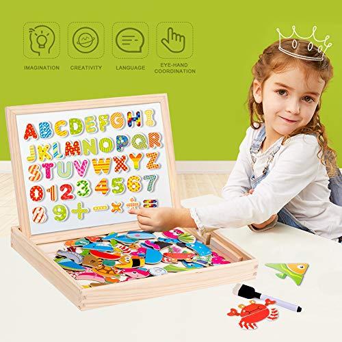 Uping Puzzle Magnetico Legno 130 Pezzi Con Lavagna A Double Face Per Bambini 3 Anni 0 4