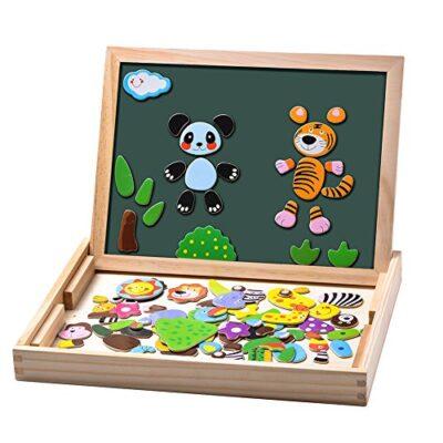 Uping Puzzle Magnetico Di Legno Lavagna Magnetica Puzzle Per Bambini 3 4 5 Anni Apprendimento Educativo 100 Pezzi Animali 0