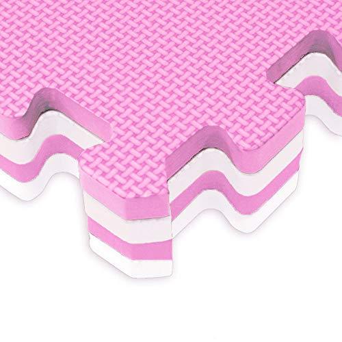 Vetrineinrete Tappeto Puzzle Bambini Morbido Da Comporre 10 Pezzi In Schiuma Antiurto Lavabile Superficie Di Gioco Bianco E Rosa G75 0 0